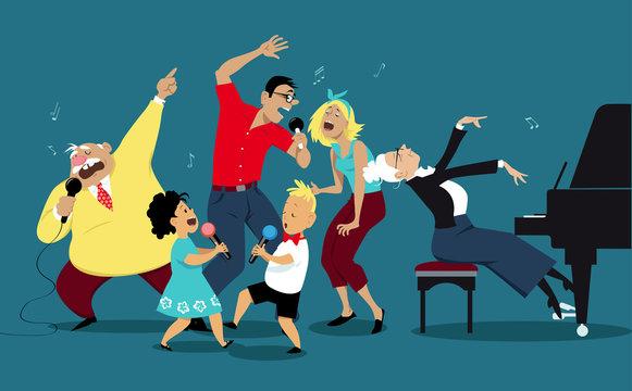 Three generation family singing karaoke together, EPS 8 vector illustration