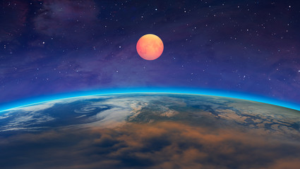 Wall Mural - Lunar eclipse with spectacular sunset