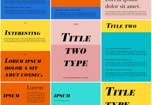 Typographic Social Post Layout Set with Bold Colors