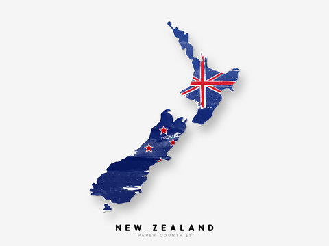 New Zealand detailed map with flag of country. Painted in watercolor paint colors in the national flag