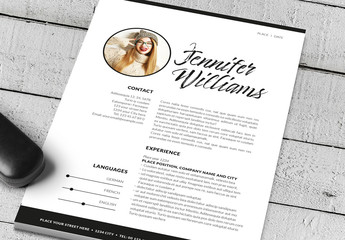 Resume Layout with Black Double Border