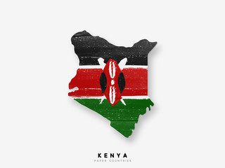 Kenya detailed map with flag of country. Painted in watercolor paint colors in the national flag Wall mural