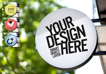 Round Outdoor Sign Mockup