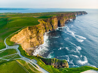World famous Cliffs of Moher, one of the most popular tourist destinations in Ireland. Aerial view...
