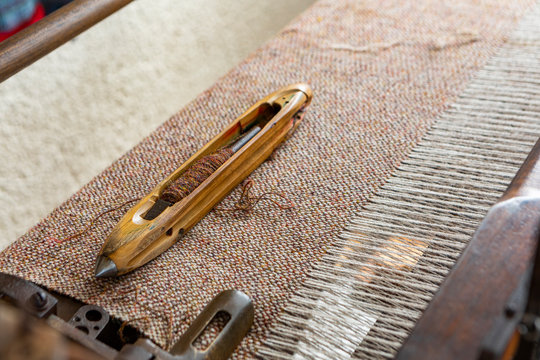 traditional weaving loom and shuttle for Tweed weaving