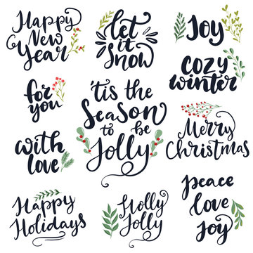 Set of hand written lettering typography phrases about Merry Christmas and Happy New year. 'Tis the season to be jolly, holly jolly, peace, love, joy words for cards, posters, banners
