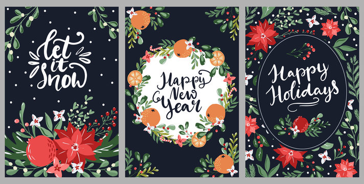 Set of hand drawn Merry Christmas greeting cards with hand lettering typography words and floral branches and flowers. Modern scandinavian style in traditional colors
