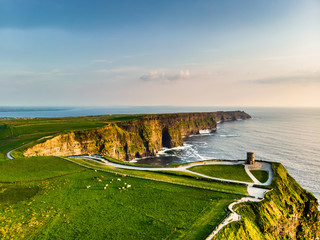 World famous Cliffs of Moher, one of the most popular tourist destinations in Ireland. Aerial view of known tourist attraction on Wild Atlantic Way in County Clare. Wall mural