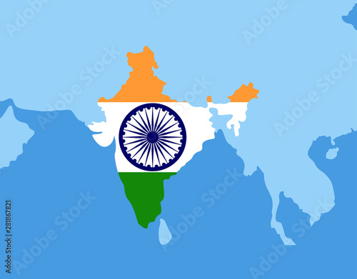 India flag and map isolated on the blue background. Indian ... on indian print with flag, indian map with key, indian man with flag, india flag,