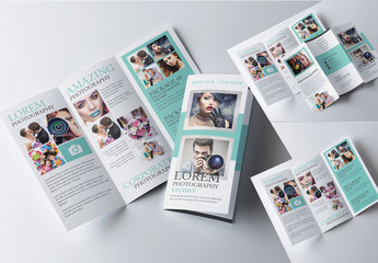 Trifold Brochure Layout with Teal Elements