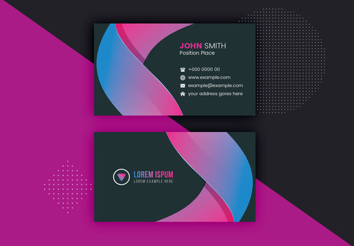 Charcoal Business Card Layout with Gradient Stripe