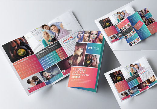 Trifold Brochure Layout with Gradient Color Accents