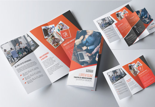 Corporate Trifold Brochure Layout with Orange Accents