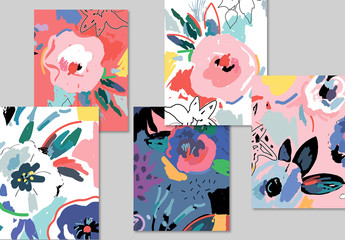 Card Layout Set with Abstract Flower Illustrations