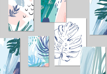 Tropical Illustration Poster Layout Set