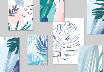 Tropical Illustration Poster Layout Set