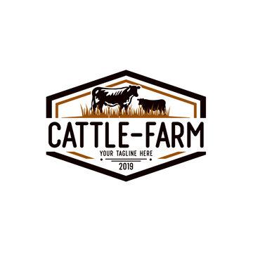 Cattle Farm Logo Design Stock Vector