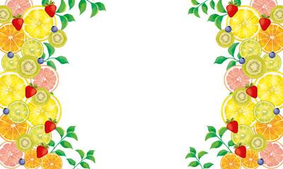 Obraz 水彩 フルーツ 果物 グレープフルーツ いちご ブルーベリー キウィ オレンジ ピンクグレープフルーツ ライム 果汁 断面図 カットフルーツ カット - fototapety do salonu