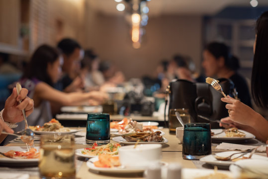 Business Conference Event. Food Meeting Buffet. Selective Focus Blur for Background.