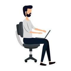 elegant businessman using laptop seated in office chair