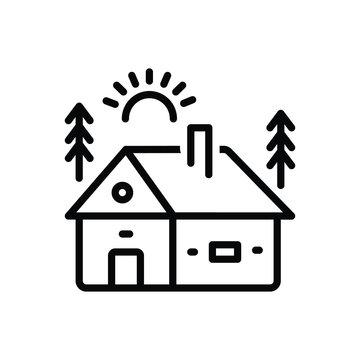 Black line icon for cabin