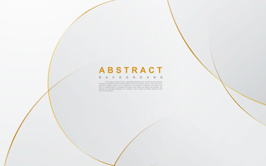 Modern abstract light silver background vector. Elegant circle shape design with golden line. Fototapete