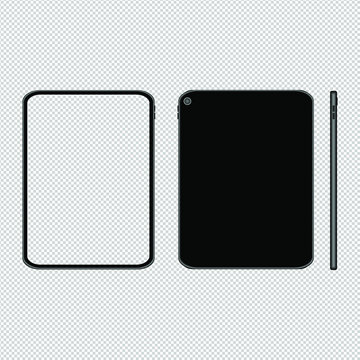 Tablet mockup illlustration with transparent screen. Front, back and side view. Vector.