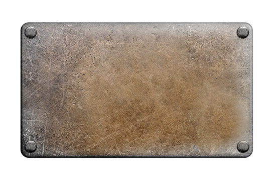 Metal plate on white background