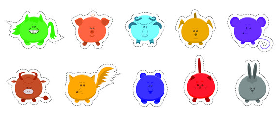 Set of color stickers funny animals