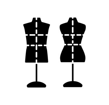 Male & female dressmaking mannequin with base stand & markings. Sign of tailor dummy. Display model, body. Professional dress form. Flat icon. Black & white vector illustration