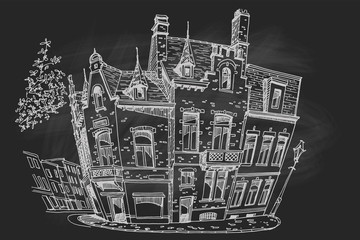 Wall Mural - PrintVector sketch of Traditional architecture in the town of Bruges (Brugge), Belgium