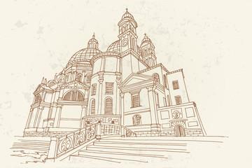 Wall Mural - vector sketch of Basilica Santa Maria della Salute, Venice, Italy.
