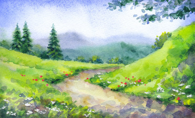Watercolor landscape. Mountain path among fir trees