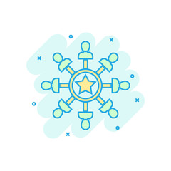 Mind awareness icon in comic style. Idea human vector cartoon illustration on white isolated background. Customer brain business concept splash effect.