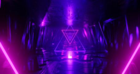 3d render abstract background, neon light beam, flight forward through tunnel corridor of rocks, light shape, outer space.