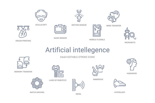 artificial intellegence concept 14 outline icons