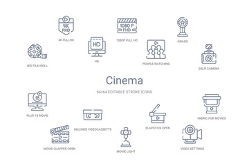 cinema concept 14 outline icons