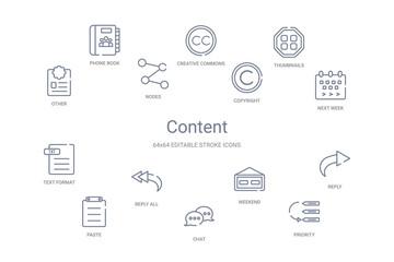 content concept 14 outline icons