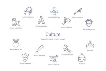 culture concept 14 outline icons