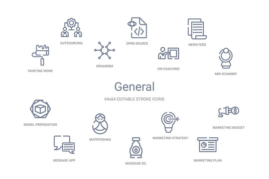general concept 14 outline icons