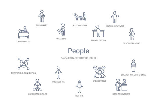 people concept 14 outline icons