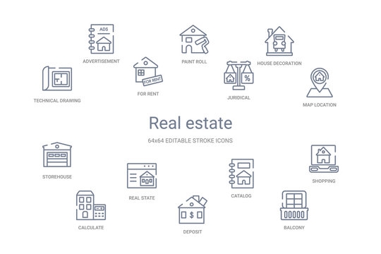 real estate concept 14 outline icons