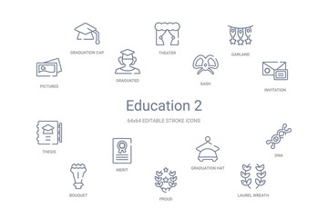 education 2 concept 14 outline icons