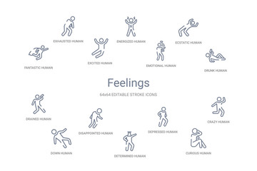 feelings concept 14 outline icons