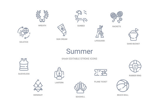 summer concept 14 outline icons