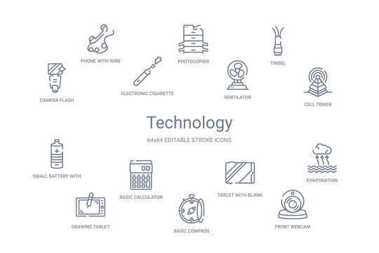 technology concept 14 outline icons