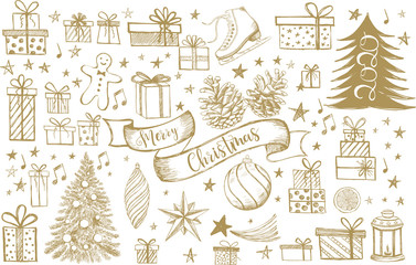 Merry Christmas and New Year set. Hand drawn illustration. Christmas Doodle collection.