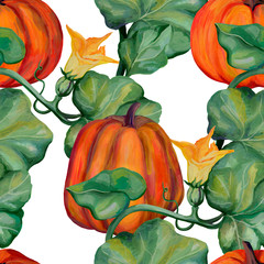 Autumn pattern. Beautiful pumpkin background. Drawing with acrylic paints. Vintage style. Botanical sketches. Ideal for postcards, wrapping paper, cloth and for other designs.
