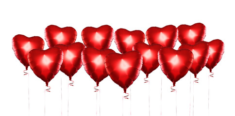 Set of Air Balloons. Bunch of red color heart shaped foil balloo