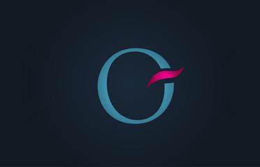 blue pink alphabet letter O logo company icon design